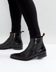 Jeffery West Scarface Brogue Zip Boots In Black Leather - Black