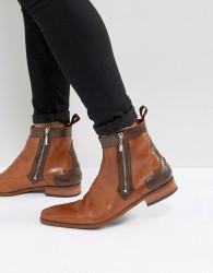 Jeffery West Scarface Brogue Zip Boots In Tan Leather - Tan