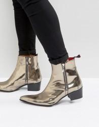 Jeffery West Sylvia Zip Boots In Metallic Pewter - Silver