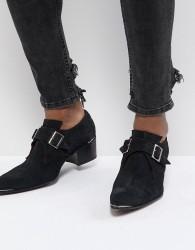 Jeffery West Sylvian Double Monk Suede Shoes - Black
