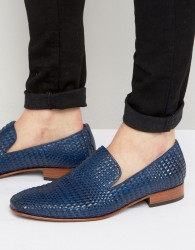 Jeffery West Yung Woven Leather Smart Loafers - Blue