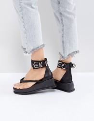 Jeffrey Campbell Black Ankle Strap Flat Sandals - Black