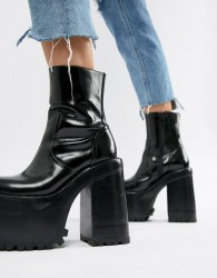 Jeffrey Campbell leather extreme chunky platform ankle boots in black - Black