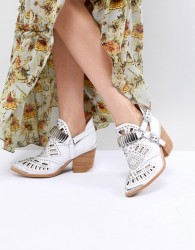 Jeffrey Campbell Leather White Western Laser Cut Ankle Boots - White