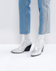 Jeffrey Campbell Silver Studded Western Boots - Silver