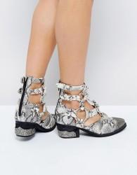 Jeffrey Campbell Temeku Cream Snake Toe Cap Heeled Ankle Boots - Cream