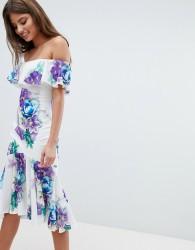 Jessica Wright Bardot Floral Dress With Frill Hem - White