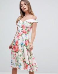 Jessica Wright Bardot Floral Prom Dress - Multi