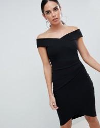 Jessica Wright Bardot Wrap Over Midi Dress - Black