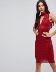 Jessica Wright Choker Neck Bodycon Dress - Red