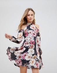 Jessica Wright Cold Shouder Floral Skater Dress - Multi