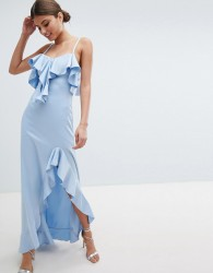 Jessica Wright Cold Shoulder Maxi Dress With Frill Detail & Side Slit - Blue