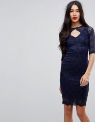 Jessica Wright Cut Out Lace Midi Pencil Dress - Black