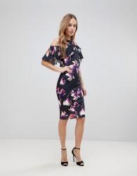 Jessica Wright Floral Cold Shoulder Pencil Dress - Multi