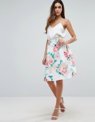 Jessica Wright Floral Print Skater Skirt - White