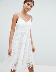 Jessica Wright Lace Skater Dress - Cream