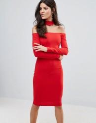 Jessica Wright Long Sleeve Choker Neck Midi Dress - Red