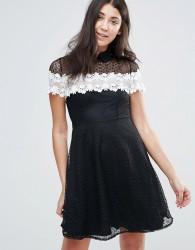 Jessica Wright Monochrome Lace Skater Dress - Black