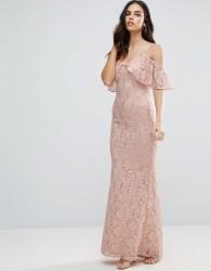 Jessica Wright Off The Shoulder Lace Maxi Dress - Cream