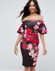 Jessica Wright Printed Pencil Midi Dress With Frill Sleeve - Navy