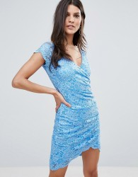 Jessica Wright Wrap Front Coloured Lace Dress - Blue