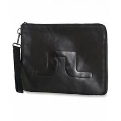 J.Lindeberg Elliot Logo Leather Portfolio Black