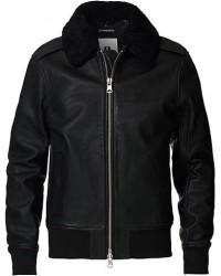 J.Lindeberg Tarrel Shearling Leather Jacket Black men M Sort