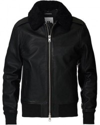 J.Lindeberg Tarrel Shearling Leather Jacket Black men XXL Sort