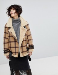 J.O.A Aviator Jacket In Vintage Check With Faux Shearling Lining - Tan