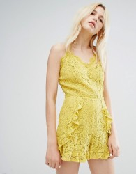 J.O.A Cami Strap Playsuit In Delicate Lace With Ruffle Detail - Yellow