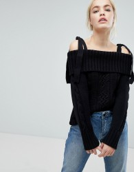J.O.A Cold Shoulder Jumper With Tie Shoulders In Cable Knit - Black