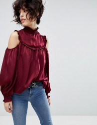 J.O.A Cold Shoulder Long Sleeve Top With High Shirred Neck - Red
