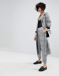J.O.A Cropped Tailored Trousers With Pearl Details In Suit Check Co-Ord - Grey