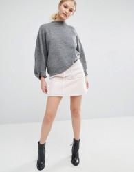 J.O.A Faux Shearling Mini Skirt - Cream