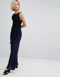 J.O.A High Waist Plisse Trousers With Tie Waist - Navy