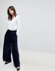 J.O.A High Waist Wide Leg Trousers In Pleated Velvet - Navy