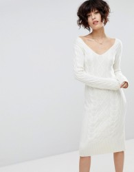 J.O.A Jumper Dress In Cable Knit - Cream