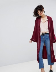 J.O.A Kimono Jacket In Piped Satin - Red