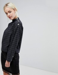 J.O.A Long Sleeve Top With Popper Neck Opening In Grid Check - Multi