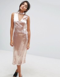 J.O.A Midi Dress With Plunge Front And Choker Neck Detail - Pink