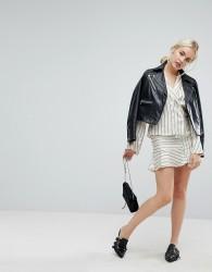 J.O.A Mini Skirt In Satin Formal Stripe Co-Ord - Cream