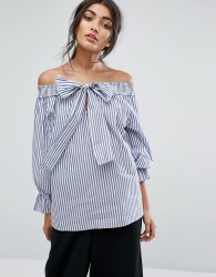 J.O.A Off Shoulder Top In Shirt Stripe With Tie Bow Front - Multi