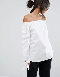 J.O.A Off Shoulder Top With Wide Tie Detail Sleeves - White