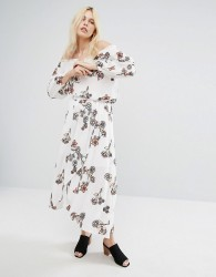 J.O.A Off Wrap Front Midi Skirt With Floral Embroidery Co-Ord - White