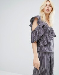 J.O.A Pinstripe One Shoulder Ruffle Top Co-Ord - Navy