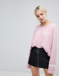 J.O.A Relaxed Varsity Jumper With Xl Sports Stripe Cuffs - Pink