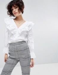 J.O.A Ruffle Collar Long Sleeve Shirt - White