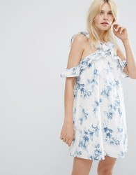 J.O.A Shift Dress With Cross Cold Shoulder Ruffle Detail In Light Floral - White