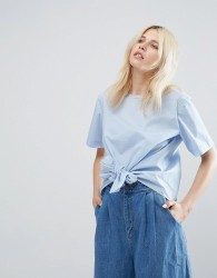 J.O.A Short Sleeve Blouse With Tie Front Detail - Blue