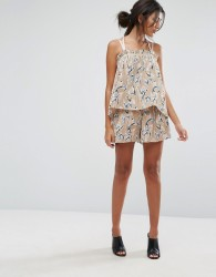 J.O.A Shorts In Pleated Floral Print Co-Ord - Multi